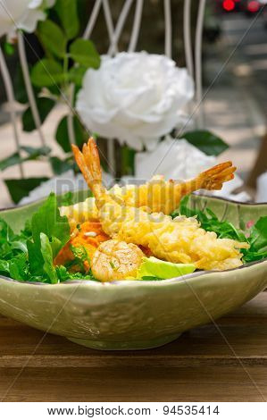 Fresh Japanese Tempura Shrimps With Salad