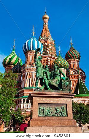 The Monument To Minin And Pozharsky In Front Of Saint Basil's Cathedral.