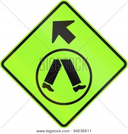 Pedestrian Crossing Ahead On Side Road In Australia