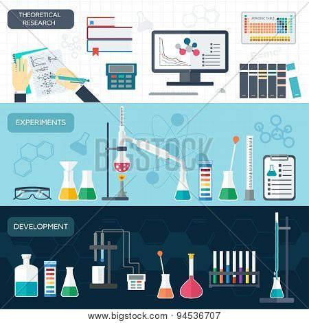 Chemical Set Of Horizontal Banners. Scientific Research. Flat Design. Vector
