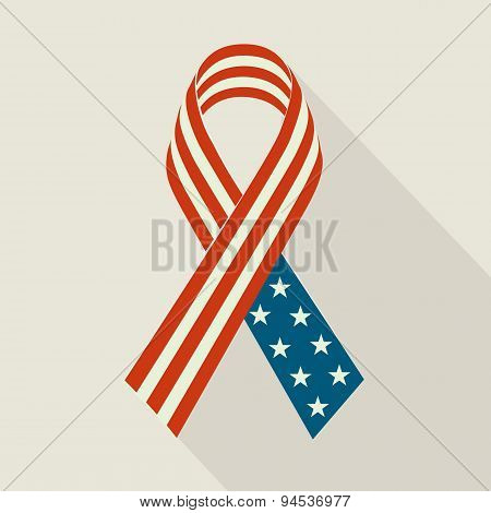 Creative Ribbon with USA Flag For Memorial Day.