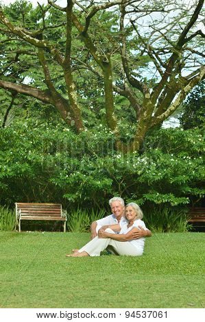 Elderly couple  in tropical garden