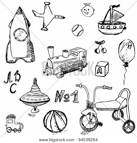 Baby, Child Toys Set Hand Drawn Sketch, Isolated On White Background