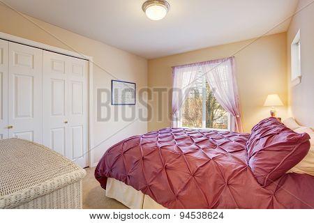 Elegant Bedroom With Fuchsia Bedding.