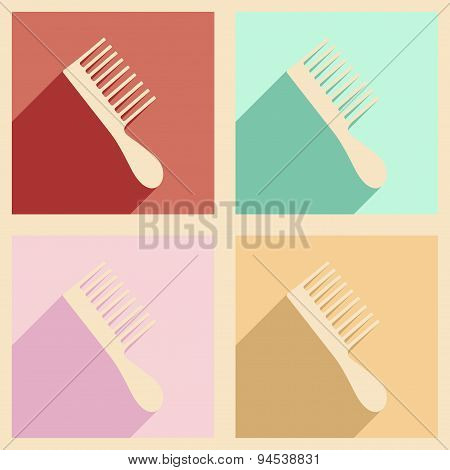 Flat with shadow concept and mobile application comb