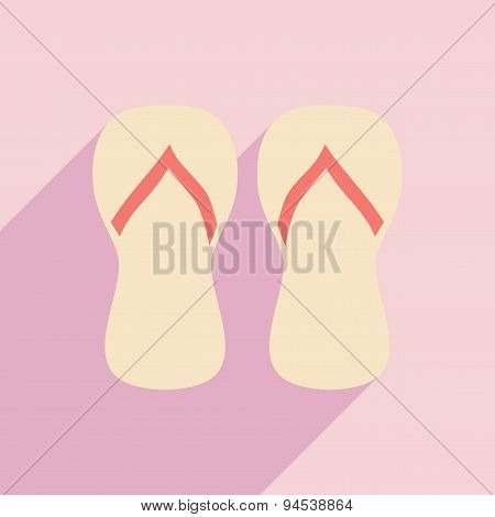 Flat with shadow icon and mobile application beach flip flops