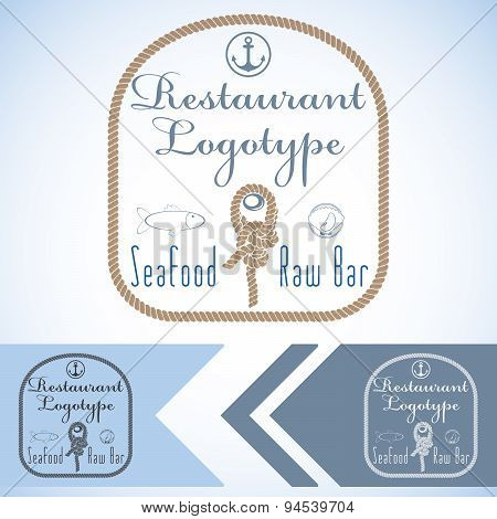 Logotype Mock Up For Seafood Restaurant And Raw Bar. Vector Graphic Design. With Fish And Oyster And