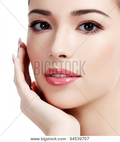 Beautiful face of young adult woman with clean fresh skin, white background, isolated, copyspace.