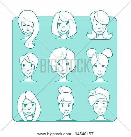Flat Character Illustration.icon Set.outline Style
