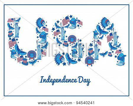 Usa  Independence Day. Flat Illustration Typography,flat Vintage Style