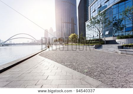 urban building with cement floor road