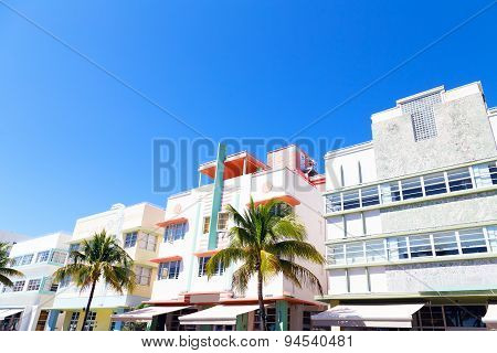 Art deco architecture of Miami Beach Florida.