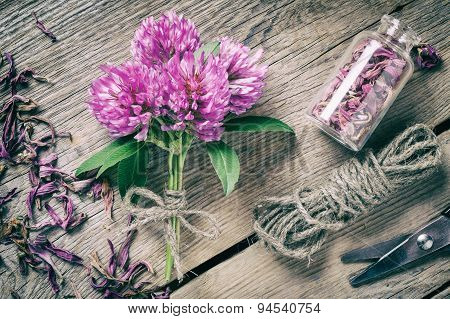 Bunch Of Clover, Bottle With Dried Herb And Jute Rope On Wooden Table.