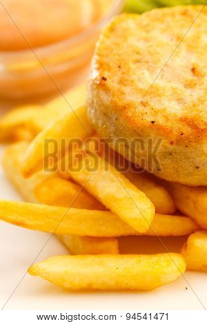 french fries with chicken cutlet for kids menu