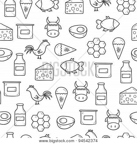 Seamless background with modern cute hand drawn outline objects with products containing animal prot
