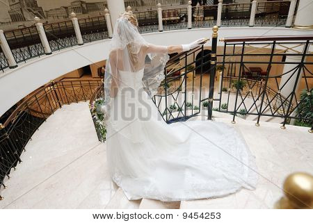 Bride in beautiful wedding dress stands on broad staircase rear view.