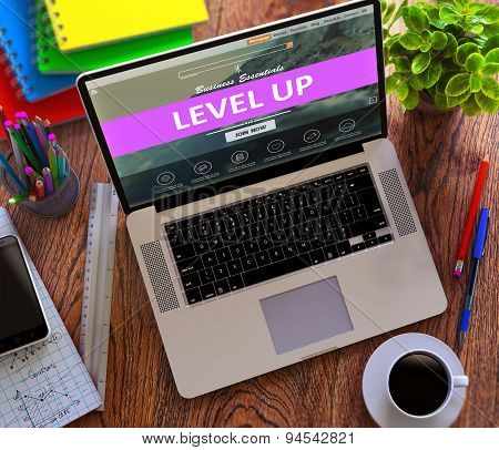 Level Up. Online Working Concept.