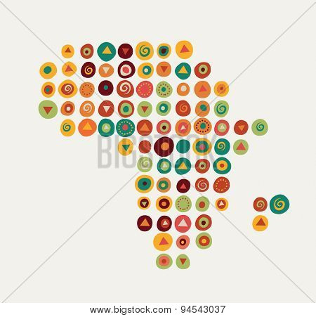 Africa - map illustration with tribal pattern