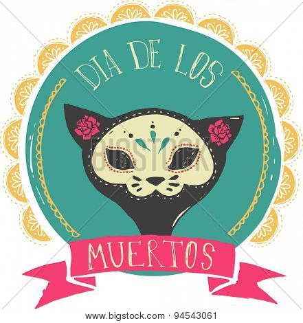 print - mexican sugar cat skull, day of the dead poster