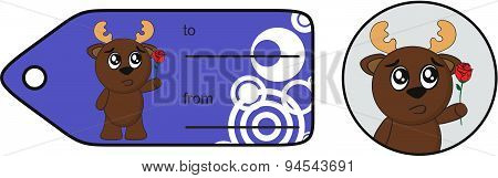 rose reindeer cartoon gift card