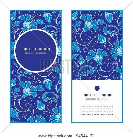 Vector dark blue turkish floral vertical round frame pattern invitation greeting cards set