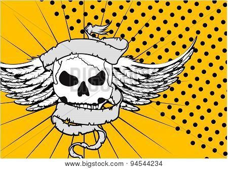 winged skull ribbon tattoo background
