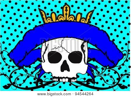 crown skull ribbon tattoo background