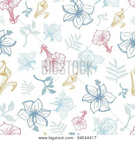 Vector Exotic Florals Drawing Seamless Pattern