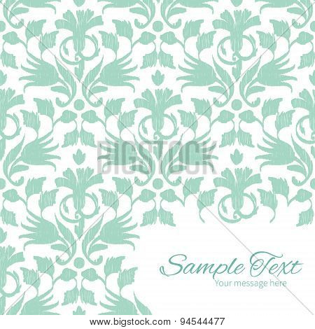 Vector abstract green ikat frame corner pattern background