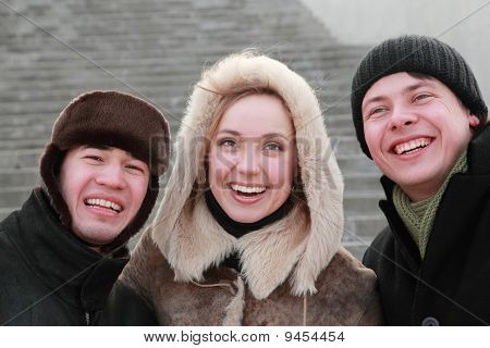 Encounter Of Old Friends After Long Years Of Separation, Trio In Winter Clothes