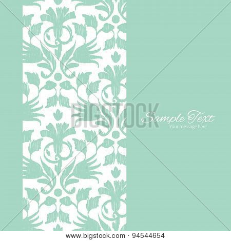 Vector abstract green ikat vertical frame seamless pattern background