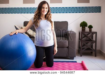 Pregnant Woman With Stability Ball