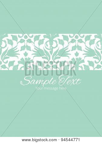 Vector abstract green ikat stripe frame vertical card invitation template