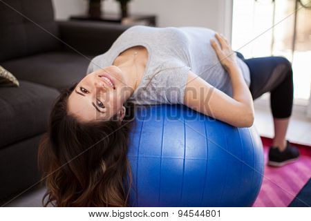 Pregnant Mom With Stability Ball