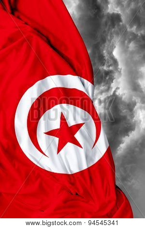 Tunisia waving flag on a bad day