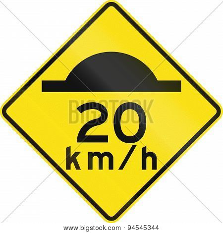 Road Bump With Advisory Speed In Australia