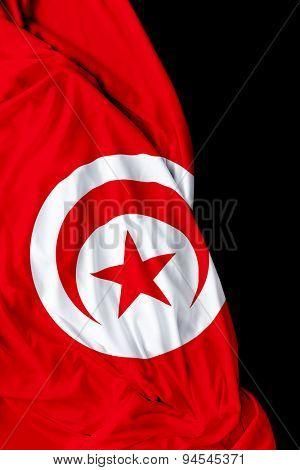 Tunisia waving flag on black background