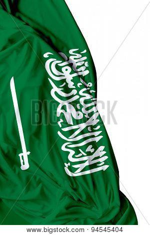 Saudi Arabia waving flag on white background