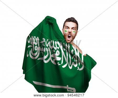 Fan holding the flag of Saudi Arabia on white background