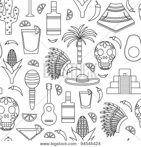 Seamless background with outline objects on Mexico theme