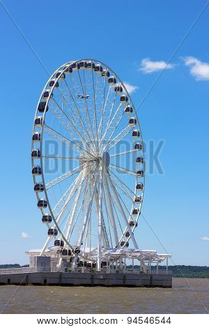 Ferris wheel of National Harbor pier in Maryland USA.