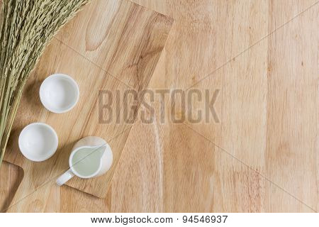 Wood Texture Background With Empty Tea Cups