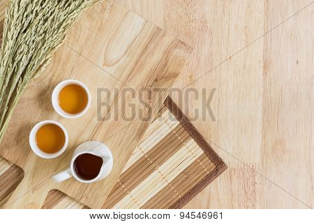 Wood Texture Background With Cups Of Tea