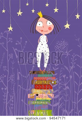 Cute Little Princess Girl Standing on Stack of Books in Pajamas
