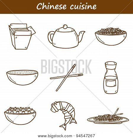 Set of cute modern hand drawn cartoon icons on chinese food theme: rice, teapot, chinese pasta, soy sause, soup, chinese sticks, chinese dumpling, shrimp. Vector ethnic chinese cuisine concept. You can use it for your site, restaurant menu