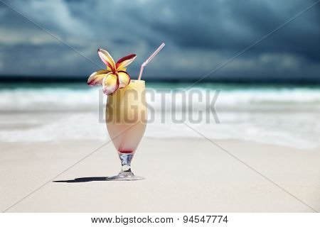 fresh fruit juice on a tropical beach