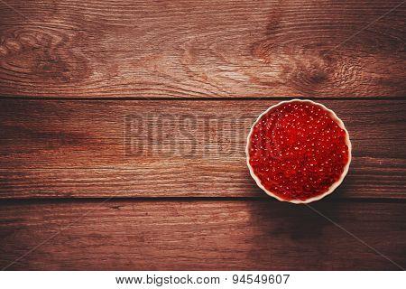 Red Salmon Caviar In A Bowl