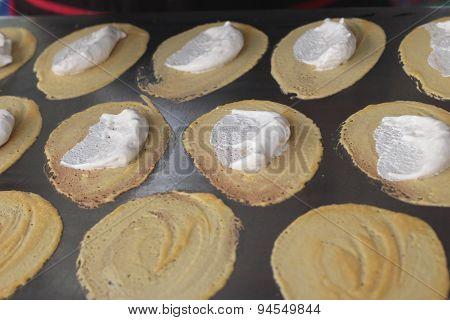 Close Up Of Thai Crispy Pancake - Cream Crepes