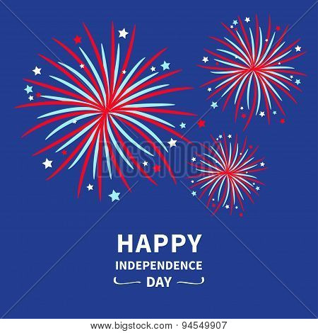 Happy Independence Day United States Of America. 4Th Of July. Fireworks Star And Strip  Flat Design