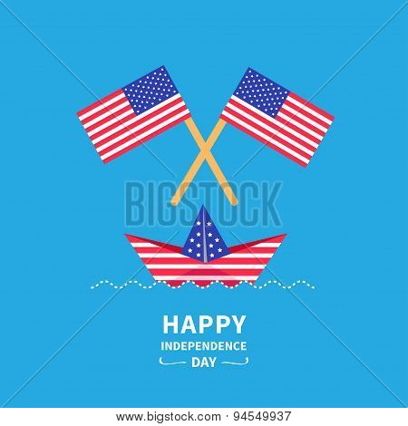 Happy Independence Day United States Of America. 4Th Of July. Paper Boat. Flat Design